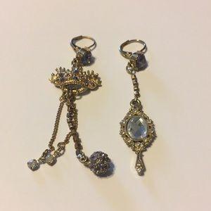 Betsey Johnson Crown Mismatch Earrings